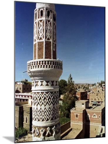 The Minaret of a 15th Century Mosque Rises Above a San'a, Yemen Neighborhood--Mounted Photographic Print