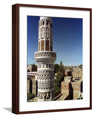 The Minaret of a 15th Century Mosque Rises Above a San'a, Yemen Neighborhood--Framed Art Print
