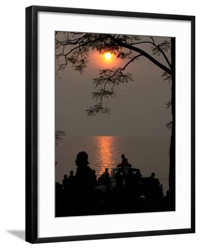 Congolese Refugees Wait for the Ferry to Bukavu, Congo--Framed Art Print