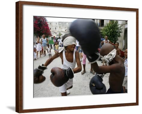 Two Cuban Boys Show Their Boxing Skills--Framed Art Print