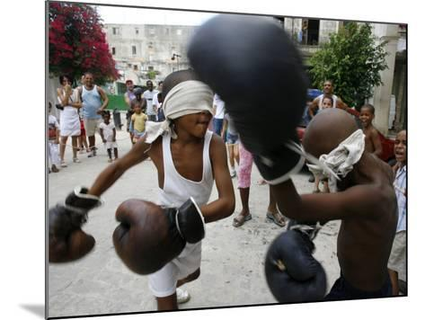 Two Cuban Boys Show Their Boxing Skills--Mounted Photographic Print