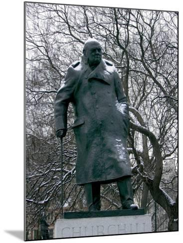 Snow is Seen on a Statue of the Late British Prime Minister Sir Winston Churchill-Matt Dunham-Mounted Photographic Print