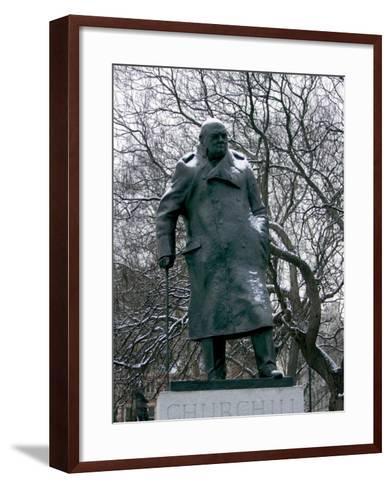 Snow is Seen on a Statue of the Late British Prime Minister Sir Winston Churchill-Matt Dunham-Framed Art Print