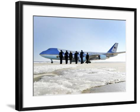 Air Force One, with President Obama and His Family Aboard, Prepares to Depart--Framed Art Print