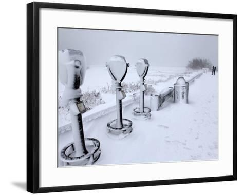 Telescope Viewers are Covered in Snow Overlooking Lighthouse Beach in Chatham, Massachusetts--Framed Art Print