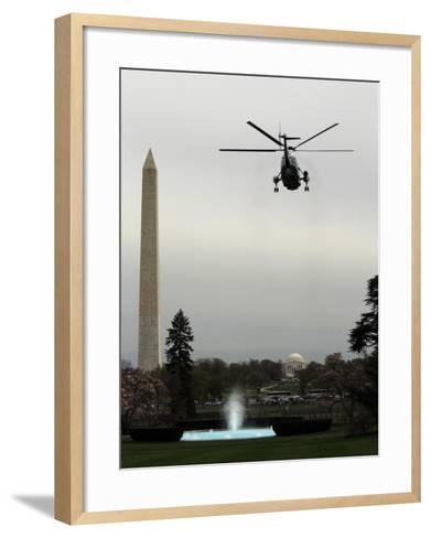 Marine One, with President Barack Obama Aboard, Leaves the White House in Washington--Framed Art Print