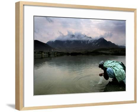 Afghan Man Washes His Face in the River before Going to Evening Prayers--Framed Art Print