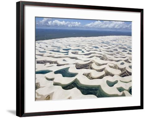 Aerial View of the Sand Dunes at the Lencois Maranhenses National Park, Brazil--Framed Art Print
