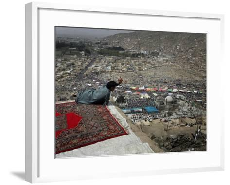 Afghan Youth Sits on a Rooftop During the Celebration of Nowruz--Framed Art Print
