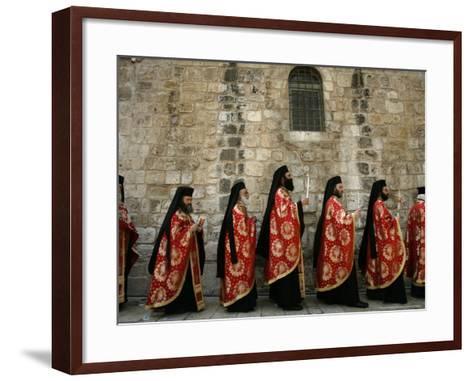 Greek Orthodox Bishops at Easter Mass, Jerusalem, Israel-Emilio Morenatti-Framed Art Print