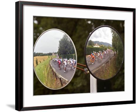 Mirrors at a T-Junction Reflect Riders During the 18th Stage of the Tour De France--Framed Art Print