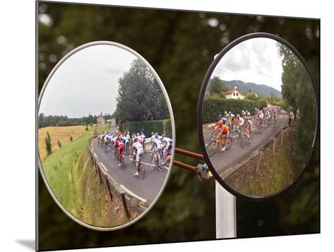 Mirrors at a T-Junction Reflect Riders During the 18th Stage of the Tour De France--Mounted Photographic Print
