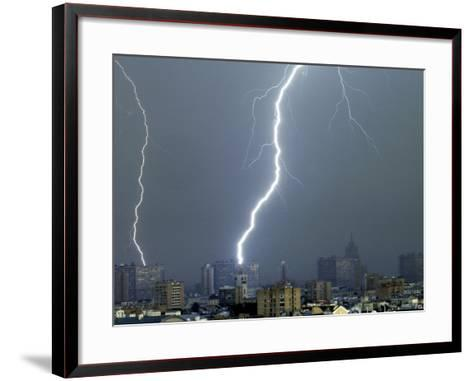 Lightning Strikes in Moscow During a Violent Rain Storm--Framed Art Print