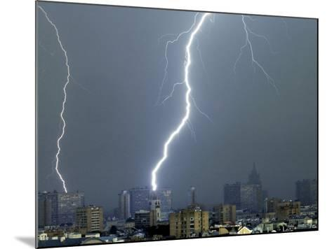 Lightning Strikes in Moscow During a Violent Rain Storm--Mounted Photographic Print