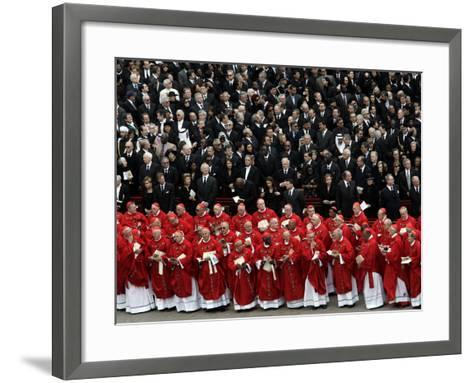Cardinals, in Red, Participate in the Funeral Mass for Pope John Paul II--Framed Art Print