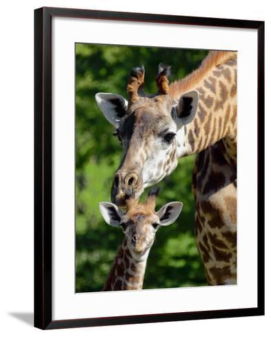 Bridgit and Her 3-Week Old Son Mac--Framed Art Print