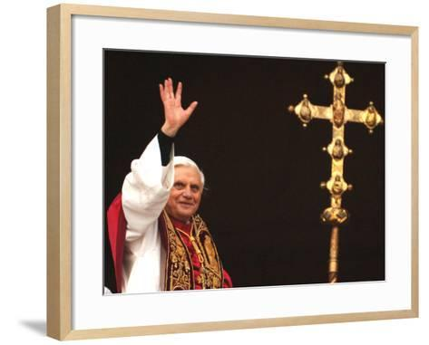 Pope Benedict XVI Waves to the Crowd--Framed Art Print
