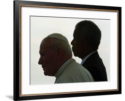 Pope John Paul II and South African President Nelson Mandela--Framed Art Print