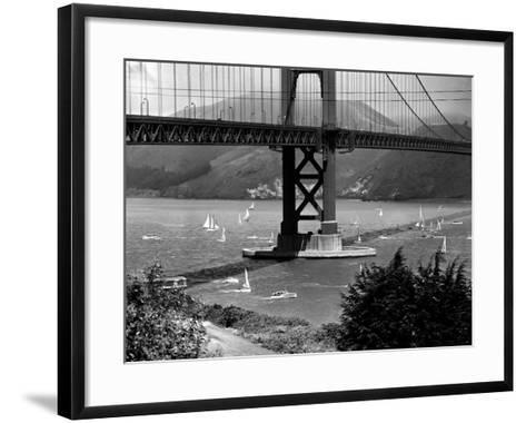 Golden Gate Bridge on Opening Day of the Yacht Season--Framed Art Print
