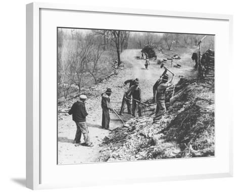 Works Progress Administration (Wpa) Workers Build a New Farm-To-Market Road--Framed Art Print