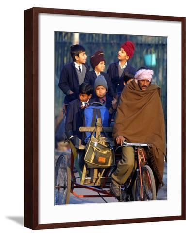 Indian Children Ride to School on the Back of a Cycle Rickshaw--Framed Art Print
