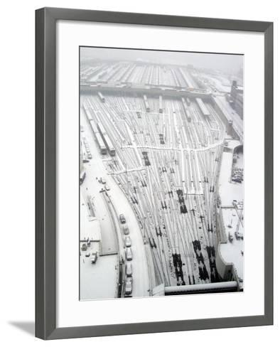 Snow Covers the Railroad Tracks at the Westside Railyard as Snow Falls on New York--Framed Art Print