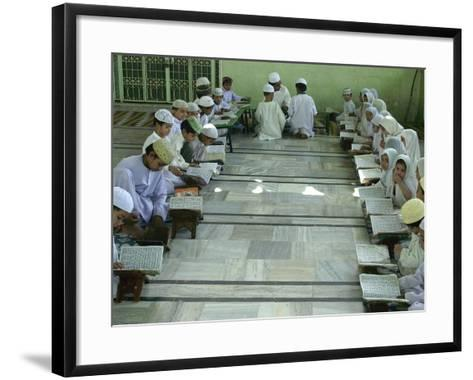 Indian Muslim Children Read the Holy Quran--Framed Art Print