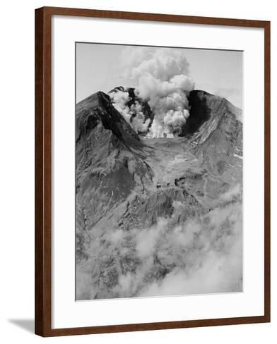 The North Side of Mount St. Helens is Wide Open as the Volcano Starts to Erupt--Framed Art Print
