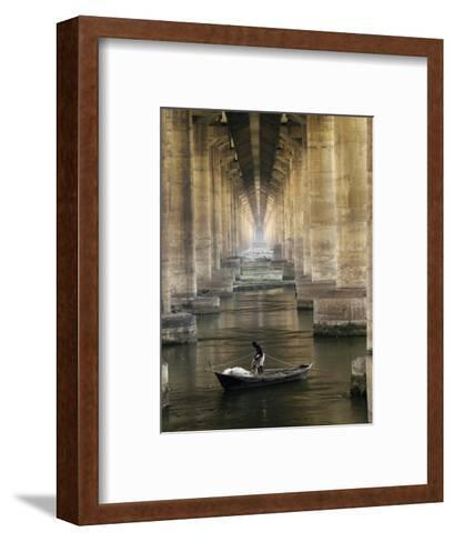 Fisherman Casts His Net in the River Ganges on the Outskirts of Allahabad, India--Framed Art Print