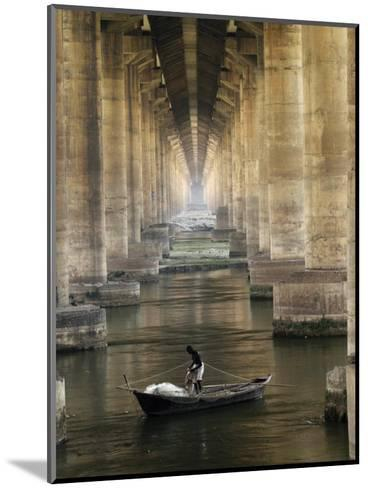 Fisherman Casts His Net in the River Ganges on the Outskirts of Allahabad, India--Mounted Photographic Print