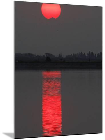 Sun Sets over a Lake on the Outskirts of Bucharest, Romania--Mounted Photographic Print