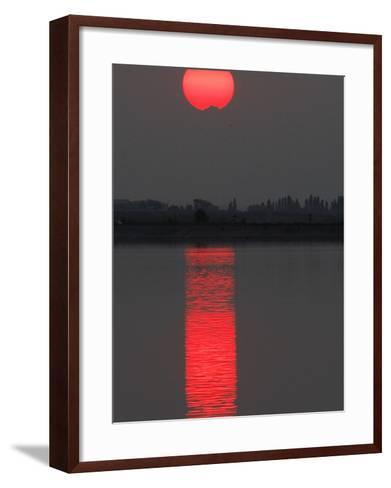 Sun Sets over a Lake on the Outskirts of Bucharest, Romania--Framed Art Print