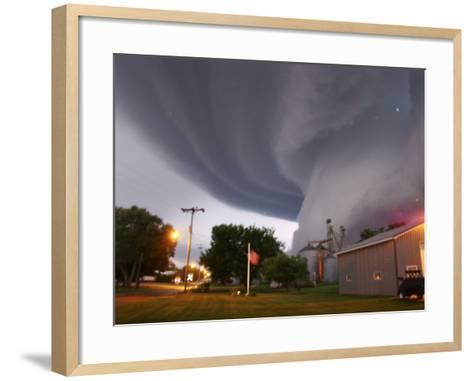 Huge Tornado Funnel Cloud Touches Down in Orchard, Iowa,--Framed Art Print