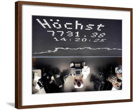 Brokers Under a Curve of German Stock Index Dax at Stock Market in Frankfurt, Central Germany--Framed Art Print