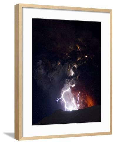 Lighting Seen Amid the Lava and Ash Erupting from the Vent of the Volcano in Central Iceland--Framed Art Print