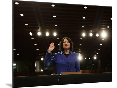 Supreme Court Nominee Sonia Sotomayor is Sworn in on Capitol Hill in Washington--Mounted Photographic Print