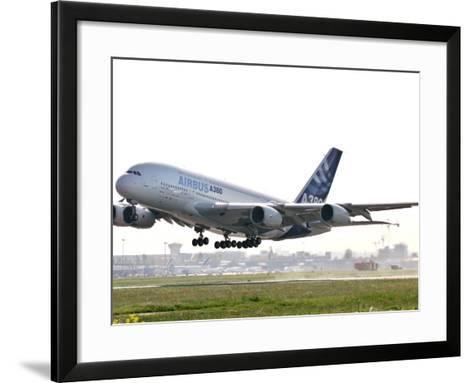 Airbus A380, the World's Largest Passenger Plane, Takes Off Successfully on its Maiden Flight--Framed Art Print