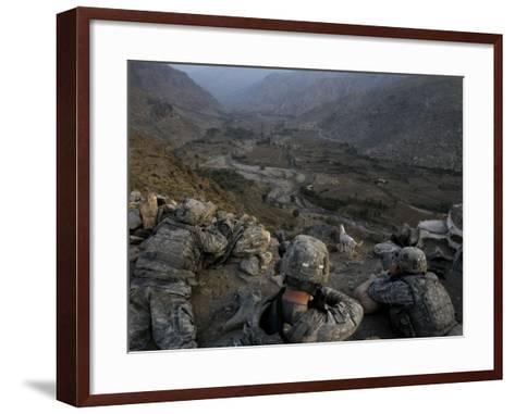 US Soldiers Take an Overwatch Position on a Mountain Top in the Pech Valley, Afghanistan--Framed Art Print