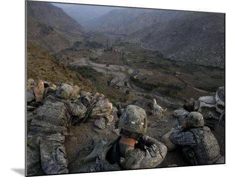 US Soldiers Take an Overwatch Position on a Mountain Top in the Pech Valley, Afghanistan--Mounted Photographic Print