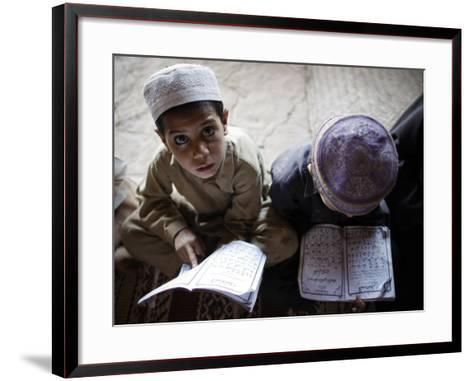 Afghan Refugee Children Read Verses of the Quran During a Daily Class at a Mosque in Pakistan--Framed Art Print