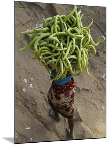 Indian Farmer Carries Cucumbers to Sell in the Market on the Outskirts of Allahabad, India--Mounted Photographic Print