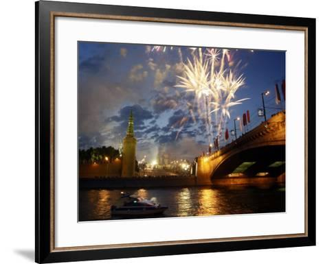 Fireworks Explode over the Kremlin, with St. Basil's Cathedral, Marking the Day of Russia in Moscow--Framed Art Print