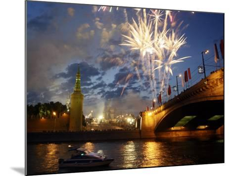 Fireworks Explode over the Kremlin, with St. Basil's Cathedral, Marking the Day of Russia in Moscow--Mounted Photographic Print