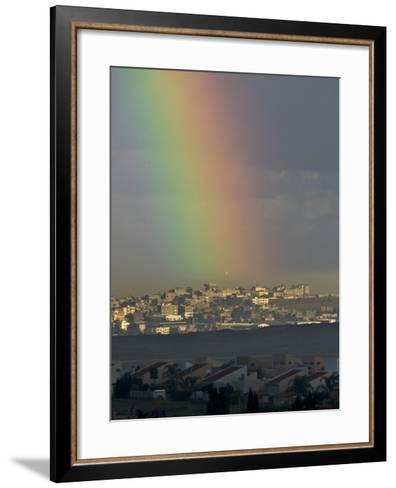 Rainbow is Seen over the Northern Gaza Strip, from the Israel-Gaza Border--Framed Art Print