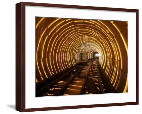 Empty Tourist Subway Car Runs Through Illuminated Tunnel in Shanghai, China--Framed Art Print