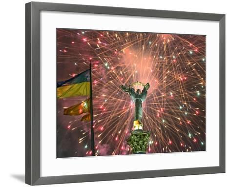 Fireworks Explode Behind the Independence Column, after a Huge Opposition Rally in Kiev--Framed Art Print