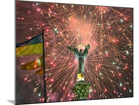 Fireworks Explode Behind the Independence Column, after a Huge Opposition Rally in Kiev--Mounted Photographic Print