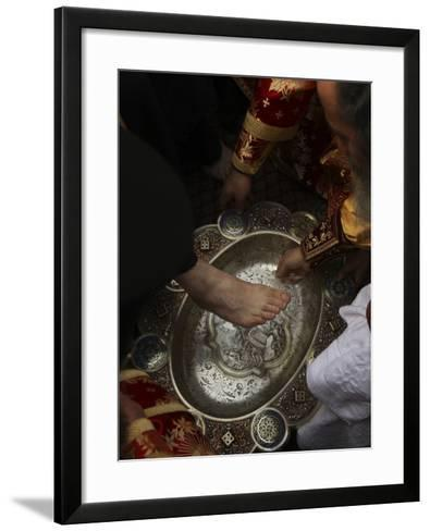 Greek Orthodox Patriarch Washes Foot of Priest at Ceremony Outside Church of Holy Sepulchre--Framed Art Print