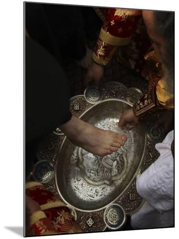 Greek Orthodox Patriarch Washes Foot of Priest at Ceremony Outside Church of Holy Sepulchre--Mounted Photographic Print