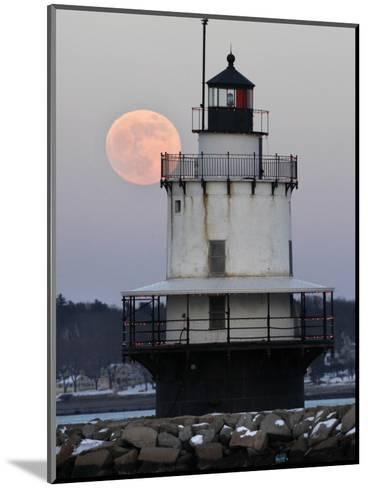 Full Moon Rises Behind the Spring Point Light House in South Portland, Maine--Mounted Photographic Print